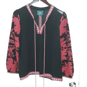 Anthropologie Maeve black & red embroidered top